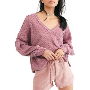 NWT FREE PEOPLE OVERSIZED CHEVRON-KNIT PULLOVER XS